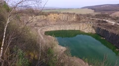 Quarry Abandoned Stone Open Pit Filled With Blue Water Stock Footage