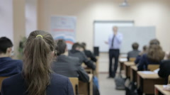 Teacher teaches in the classroom Stock Footage