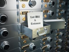 Last will and testament in the safe deposit box. Heritage concept. - stock illustration