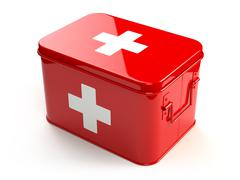 First aid kit isolated on white. Stock Illustration