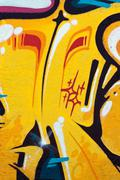 Urban abstract colorful graffiti on the wall - stock illustration
