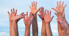 People raising hands up Stock Footage