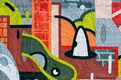 urban colorful abstract graffiti on the wall - stock illustration