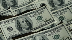Closeup Cash Money Background. Benjamin Franklin Portrait on 100 Us Dollar Bill Stock Footage