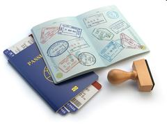 Opened passport with visa stamps and airline boading pass tickets isolated on - stock illustration