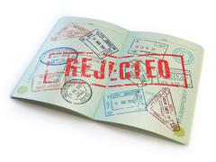 Passport with rejected visa stamp isolated on white. - stock illustration