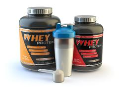 Sport nutrition, whey protein powder for bodybuilding with plastic jars and s Stock Illustration