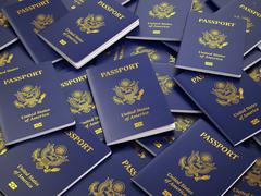 USA passport background. Immigration or travel concept. Piirros
