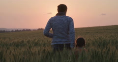 Mother and little daughter walking in a field during sunset Stock Footage