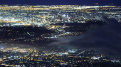 Time Lapse of Aerial View of LA City Lights with Fog  Stock Footage