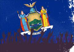 Stock Illustration of New York State Flag with Audience