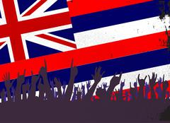 Stock Illustration of Hawaii State Flag with Audience