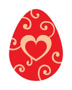 Color easter egg cartoon spring decoration and food symbol flat vector - stock illustration