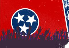 Tennessee State Flag with Audience - stock illustration