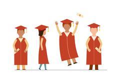 Happy graduation people uniform throwing caps vector - stock illustration