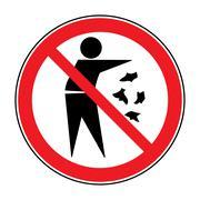 no trash sign - stock illustration