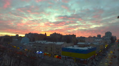 Aerial view of sunset on city center in Kiev, Ukraine Stock Footage