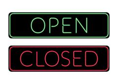 Open and Closed door neon Sign - stock illustration