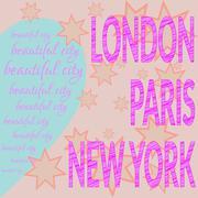 Stock Illustration of London Paris NY T-shirt