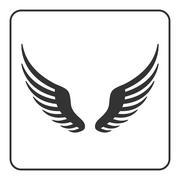 Wings black icon - stock illustration