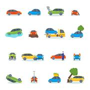 Auto accident involving car crash city street vector illustration - stock illustration