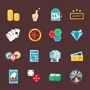 Casino icons set with roulette gambler joker slot machine isolated vector Piirros