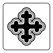 Cross icon on white background - stock illustration
