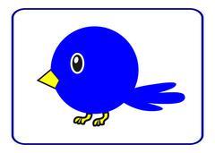 Blue bird with a yellow beak Stock Illustration