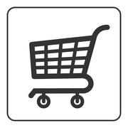Shopping Cart Sign with frame - stock illustration
