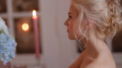 Beautiful, delicate and feminine bride. - stock footage