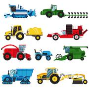 Equipment farm for agriculture machinery combine harvester vector Stock Illustration