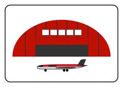 Hangar icon with plane in the frame Stock Illustration