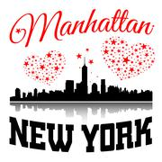 New York city Typography Graphic with hearts and stars Stock Illustration