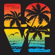 California paradise Typography Graphics Stock Illustration