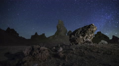 3axis MoCo Astro Time Lapse of Hoodoos at Trona Pinnacles Stock Footage