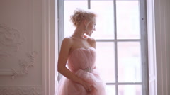 Beautiful, delicate and feminine bride. Stock Footage