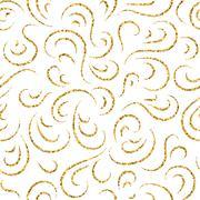 Gold wave seamless pattern draw - stock illustration