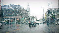 A beautiful rainy crossroad - stock footage