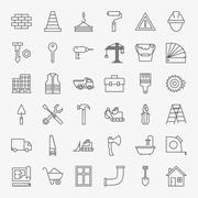 Building Construction Line Art Design Icons Big Set - stock illustration
