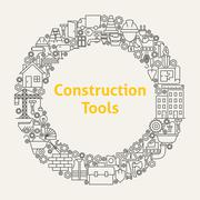 Construction Tools Line Art Icons Set Circle Stock Illustration