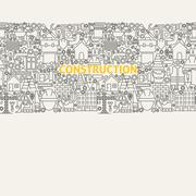 Construction Line Art Seamless Web Banner Stock Illustration