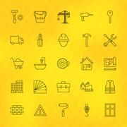 Construction Tools Line Icons Set over Polygonal Background Stock Illustration