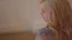 Beautiful, delicate and feminine bride. - stock footage
