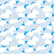 Clouds in blue sky seamless pattern Stock Illustration