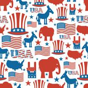 American seamless pattern. USA Election Symbols National pattern. Uncle Sam h Stock Illustration