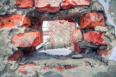 Damaged wall - stock photo