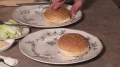 Spreading Mayo On Hamburger Buns Stock Footage