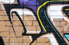 Stock Illustration of abstract graffiti on brick wall
