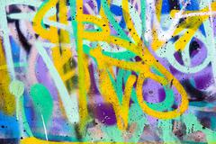 Stock Illustration of colorful graffiti wall with spray paint