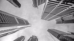 Low angle view of Banks and Commercial buildings in Central Business District - stock footage